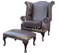Chesterfield Hampton Queen Anne High Back Wing Chair UK Manufactured Old English Smoke Leather + Footstool