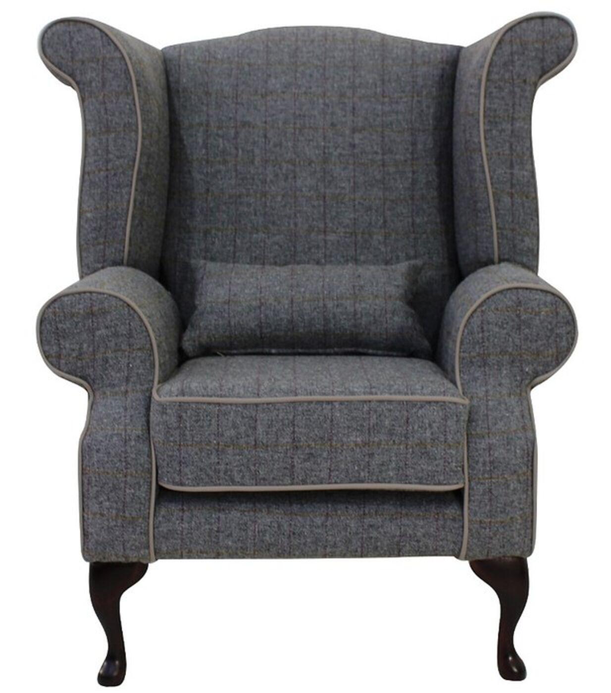 Wonderful Chesterfield Harris Tweed Edward Queen Anne Wool Wing Chair Fireside High  Back Armchair Huntsman Check Slate Grey