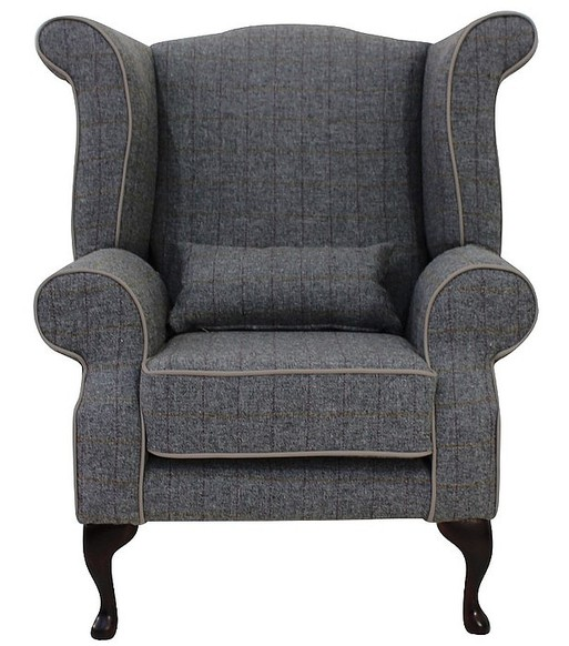 Chesterfield Harris Tweed Edward Queen Anne Wool Wing Chair Fireside High Back Armchair Huntsman Check Slate Grey