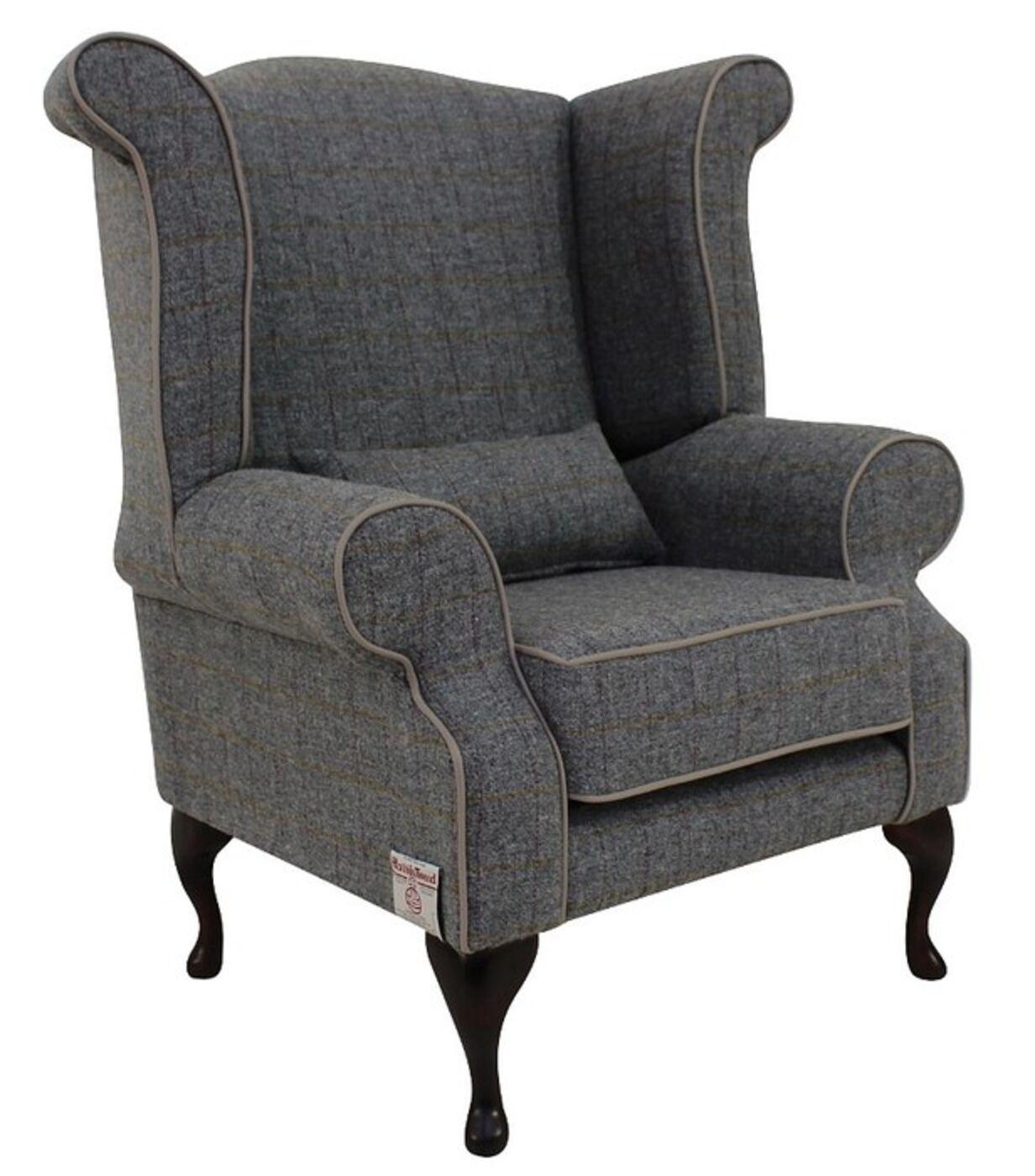 Genial Chesterfield Harris Tweed Edward Queen Anne Wool Wing Chair Fireside High  Back Armchair Huntsman Check Slate Grey