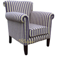 Chesterfield Havana Arm Chair Crystal Stripe Aubergine UK Manufactured