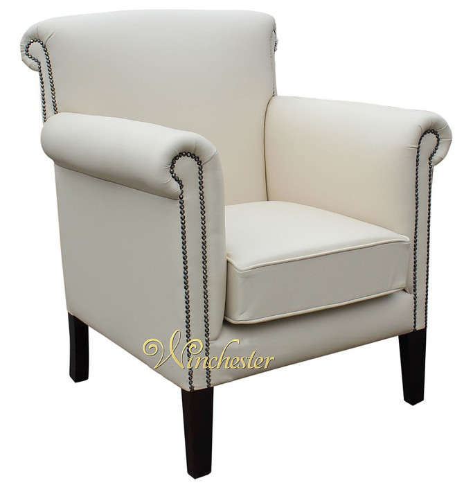 Chesterfield Havana Arm Chair Cottonseed Leather UK Manufactured Leather Sof