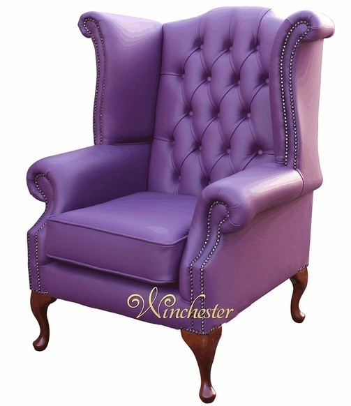 Chesterfield Queen Anne High Back Wing Chair UK Manufactured Wineberry