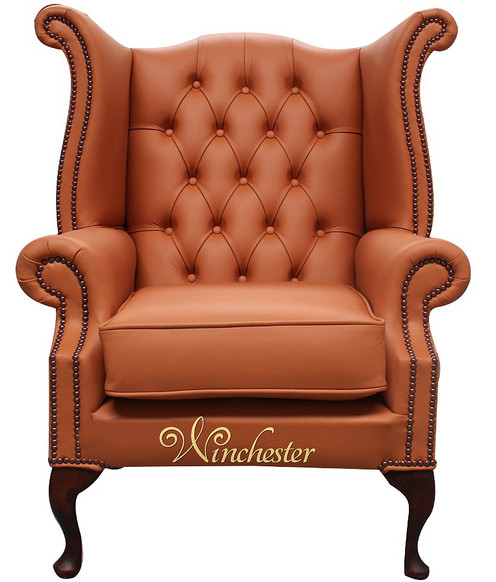 Chesterfield Queen Anne High Back Wing Chair Bran Leather