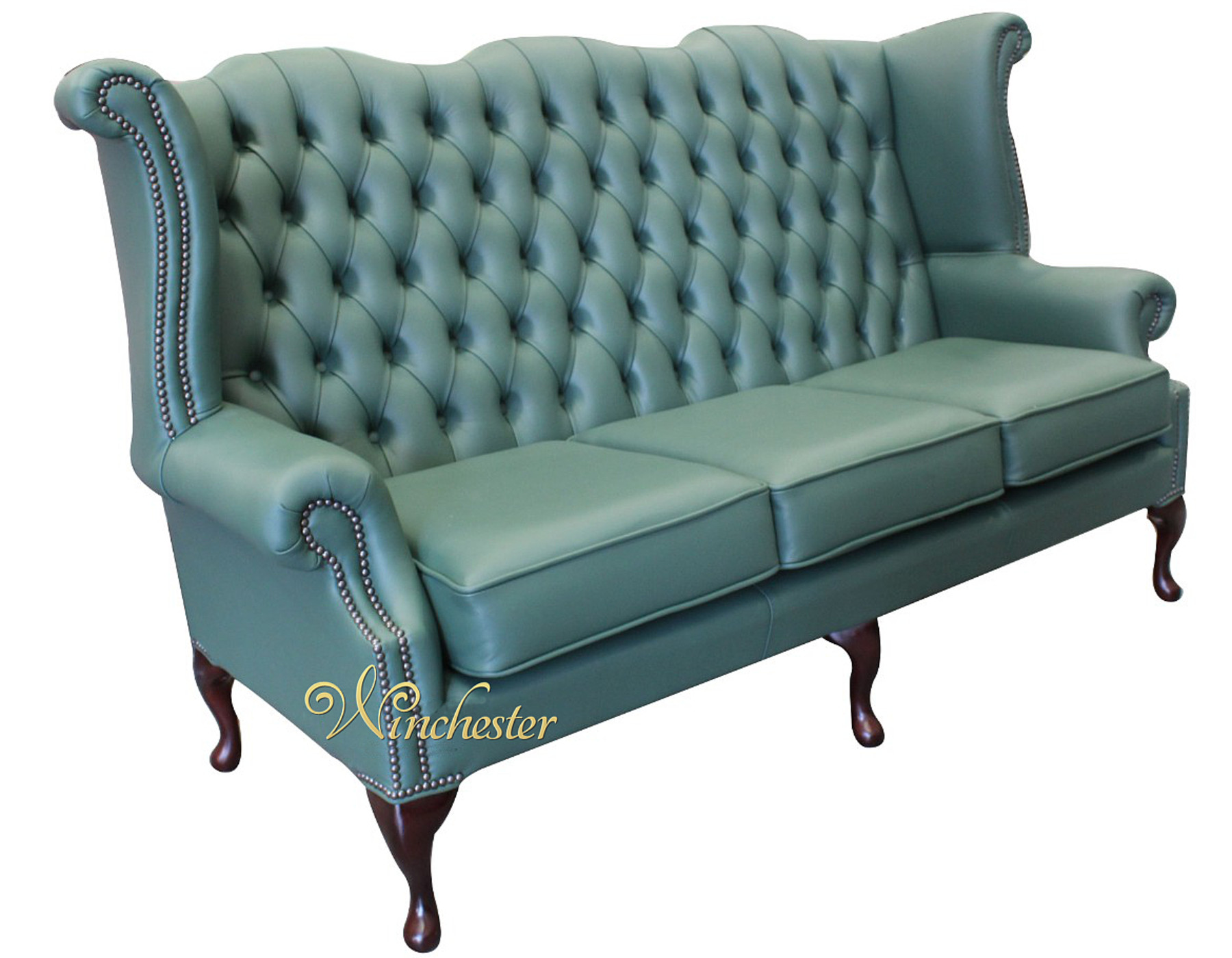 Chesterfield 3 Seater Queen Anne High Back Wing Sofa Jade Green