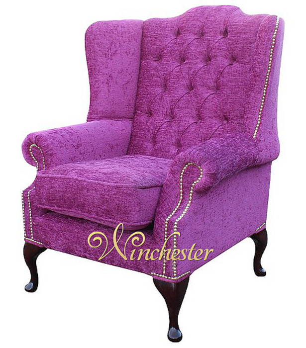 chesterfield highclere high back fabric wing chair carlton fuchsia leather sofas traditional sofas. Black Bedroom Furniture Sets. Home Design Ideas