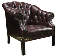 Chesterfield Houghton Buttoned Seat Chair Old English Brown Leather