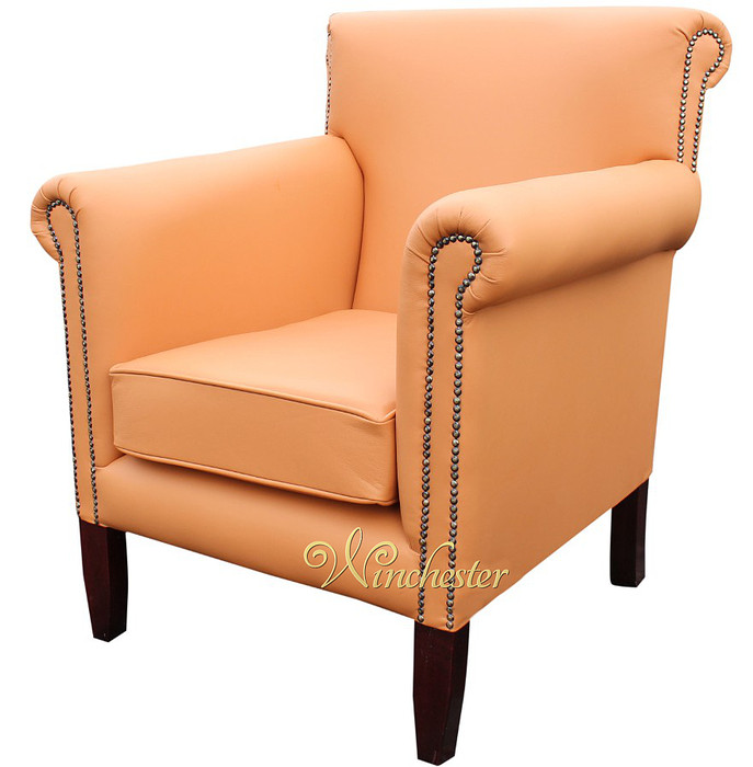 Chesterfield Havana Arm Chair Bran Leather UK Manufactured Leather Sofas Tr