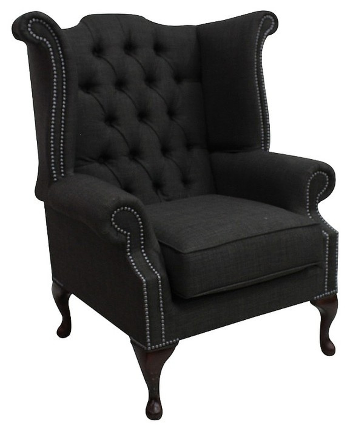 Delicieux Chesterfield Linen Queen Anne High Back Wing Chair Charles Charcoal Grey