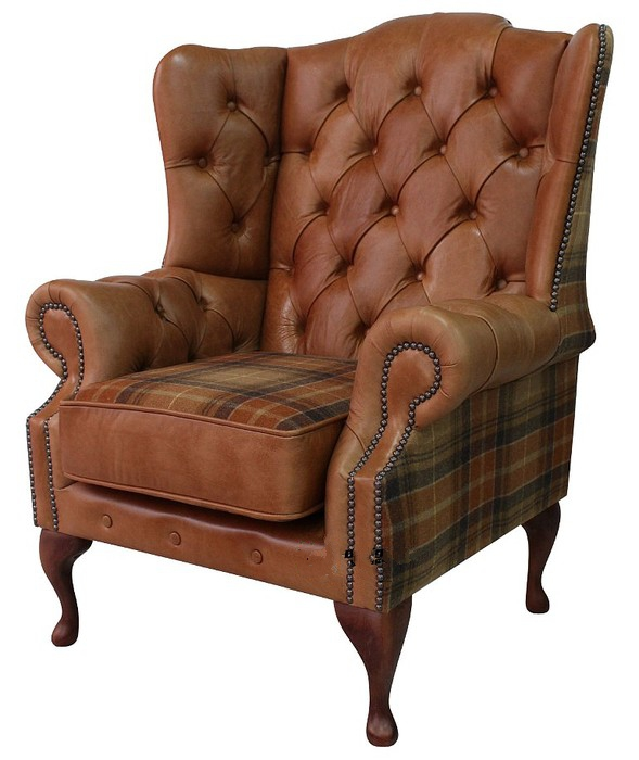 9164036b27b58 Chesterfield Ludlow High Back Wing Chair Old English Tan And Vintage  Caramel Wool
