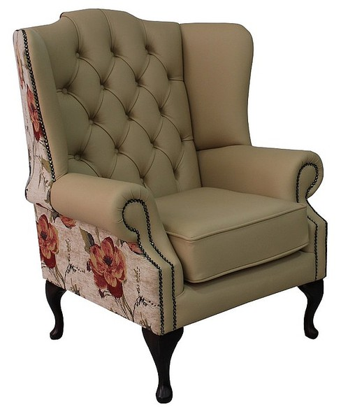 Chesterfield Mallory Flat Wing High Back Wing Chair Ivory Leather And Vivaldi Floral Ivory