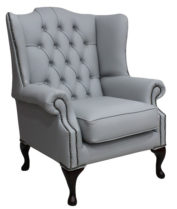 Chesterfield Mallory Flat Wing Queen Anne High Back Chair Silver Grey Leather