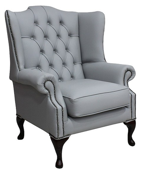 Chesterfield Mallory Flat Wing Queen Anne High Back Wing Chair Silver Grey Leather
