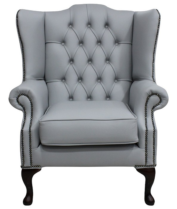 grey leather chesterfield mallory wing chair designersofas4u. Black Bedroom Furniture Sets. Home Design Ideas