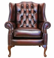 Chesterfield Mallory Flat Wing Queen Anne High Back Wing Chair UK Manufactured Antique Oxblood