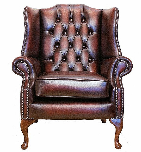 Chesterfield Mallory Flat Wing Queen Anne High Back Wing Chair Uk Manufactured Antique Oxblood Traditional Sofas