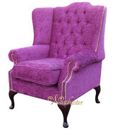 Chesterfield Mallory High Back Fabric Wing Chair Carlton Fuchsia