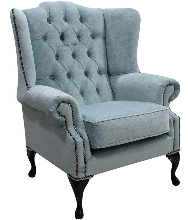 Duck egg blue chesterfield mallory wing chair for Armchair with high back