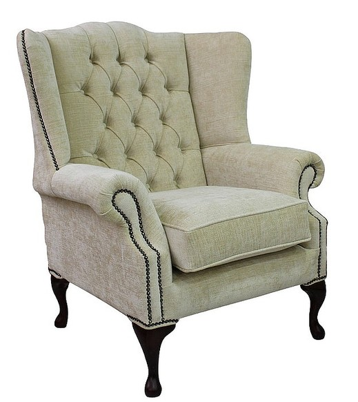Chiffon beige chesterfield mallory wing chair for Mallory material