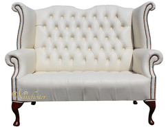 Chesterfield Newby 2 Seater Queen Anne High Back Wing Chair Sofa Cottonseed Cream Leather