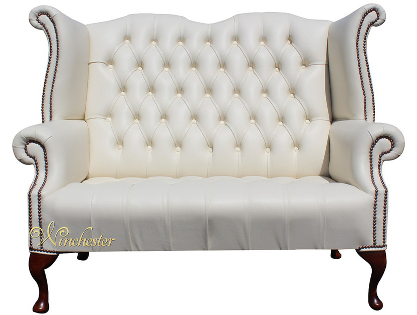 chesterfield newby 2 seater queen anne high back wing chair sofa cottonseed cream leather. Black Bedroom Furniture Sets. Home Design Ideas