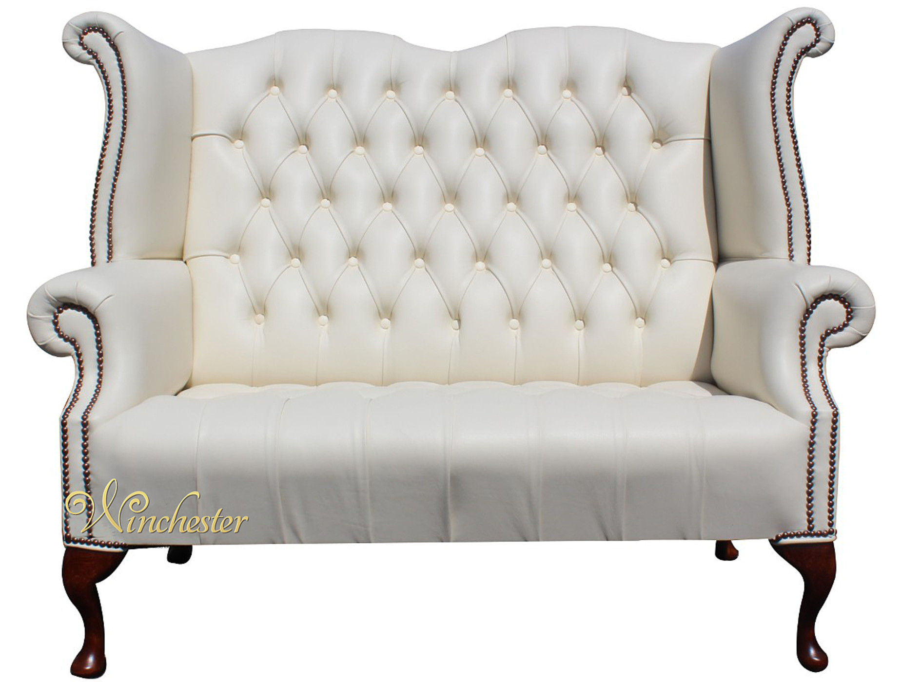 Chesterfield Newby 2 Seater High Back Sofa Cottonseed Cream Leather Wc