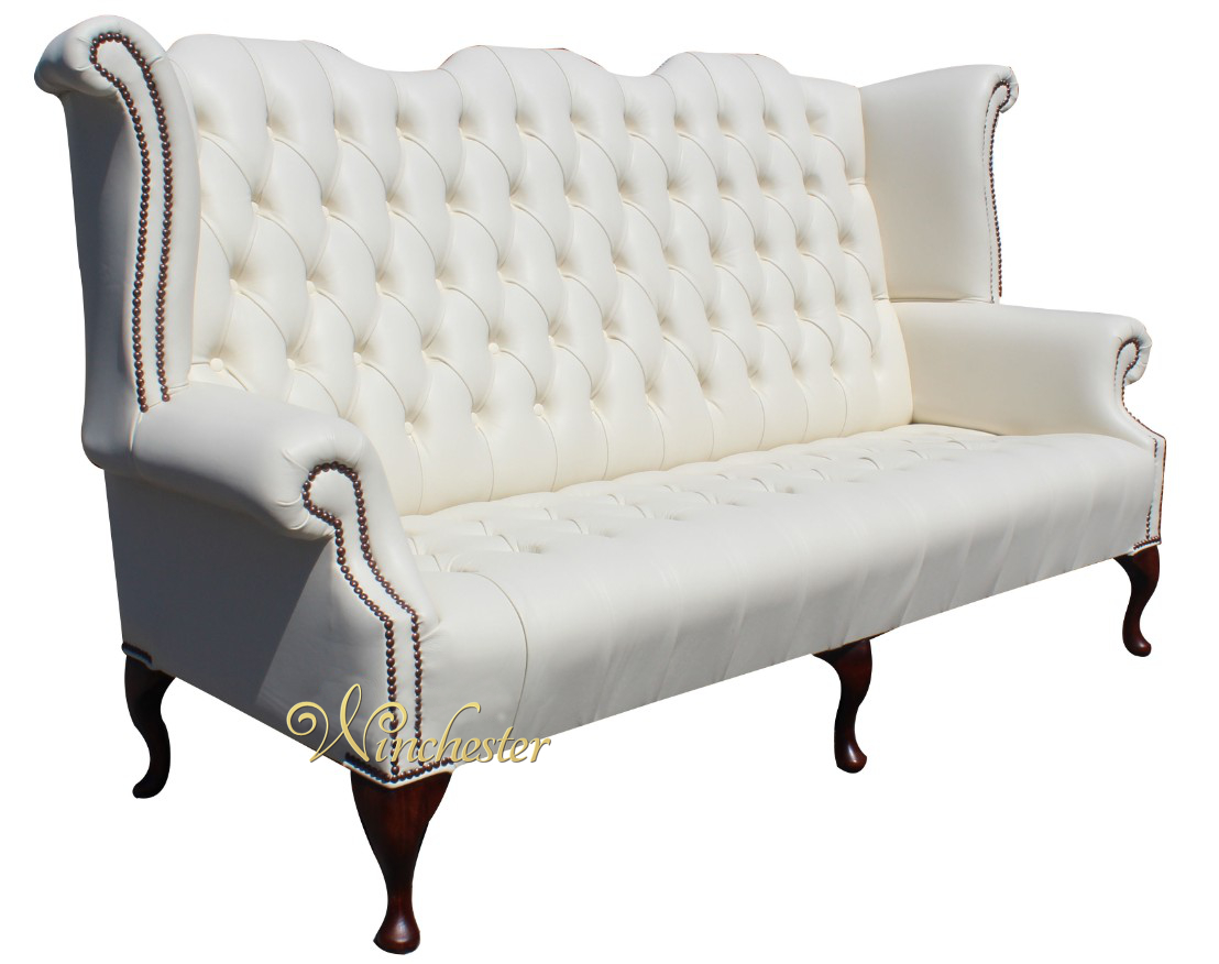 Chesterfield Newby 3 Seater Queen Anne High Back Wing Chair Sofa Cottonseed Cream Leather