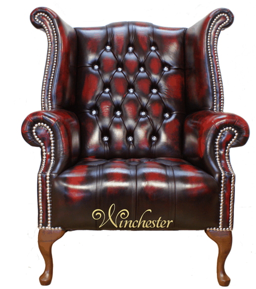 Chesterfield CRYSTALLIZED™ - Swarovski Elements Queen Anne High Back Wing Chair Oxblood Leather