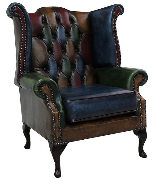 Chesterfield Patchwork Queen Anne Antique Leather Wing Chair