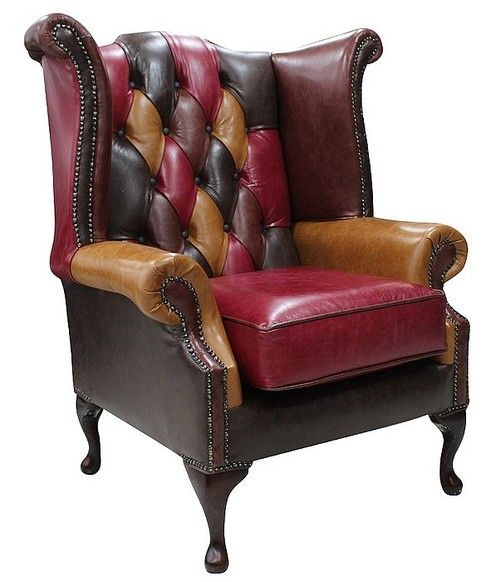 chesterfield patchwork queen anne wing chair old english. Black Bedroom Furniture Sets. Home Design Ideas