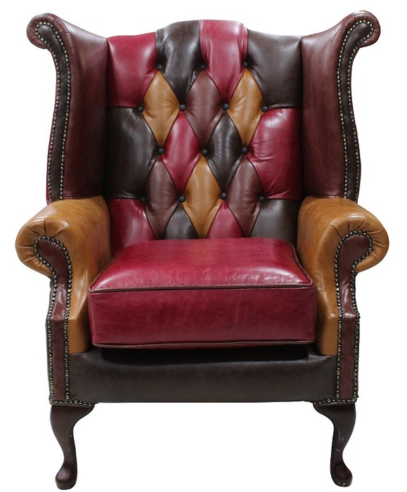Patchwork Leather Chesterfield Sofa