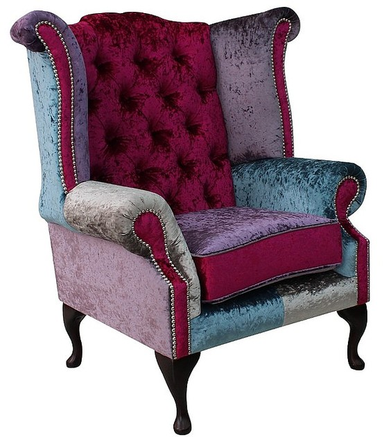 chesterfield patchwork velvet queen anne wing chair shimmer. Black Bedroom Furniture Sets. Home Design Ideas