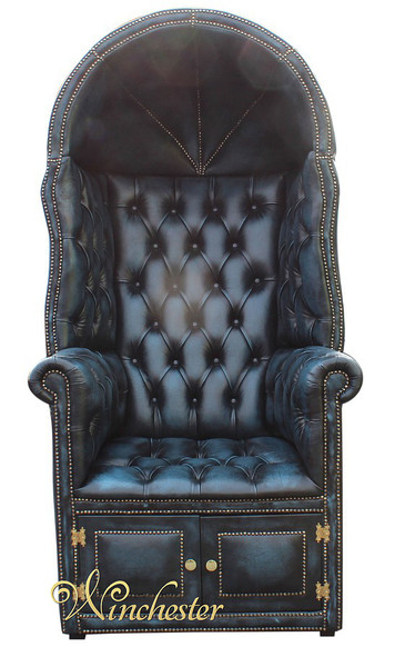Chesterfield Porter's Chair Antique Blue UK Manufactured