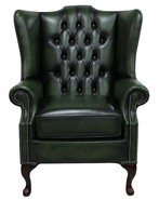 Chesterfield Prince's Mallory Flat Wing Queen Anne High Back Wing Chair UK Manufactured Antique Green Leather