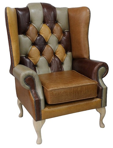 Chesterfield Prince's Patchwork Old English Leather Wing Chair