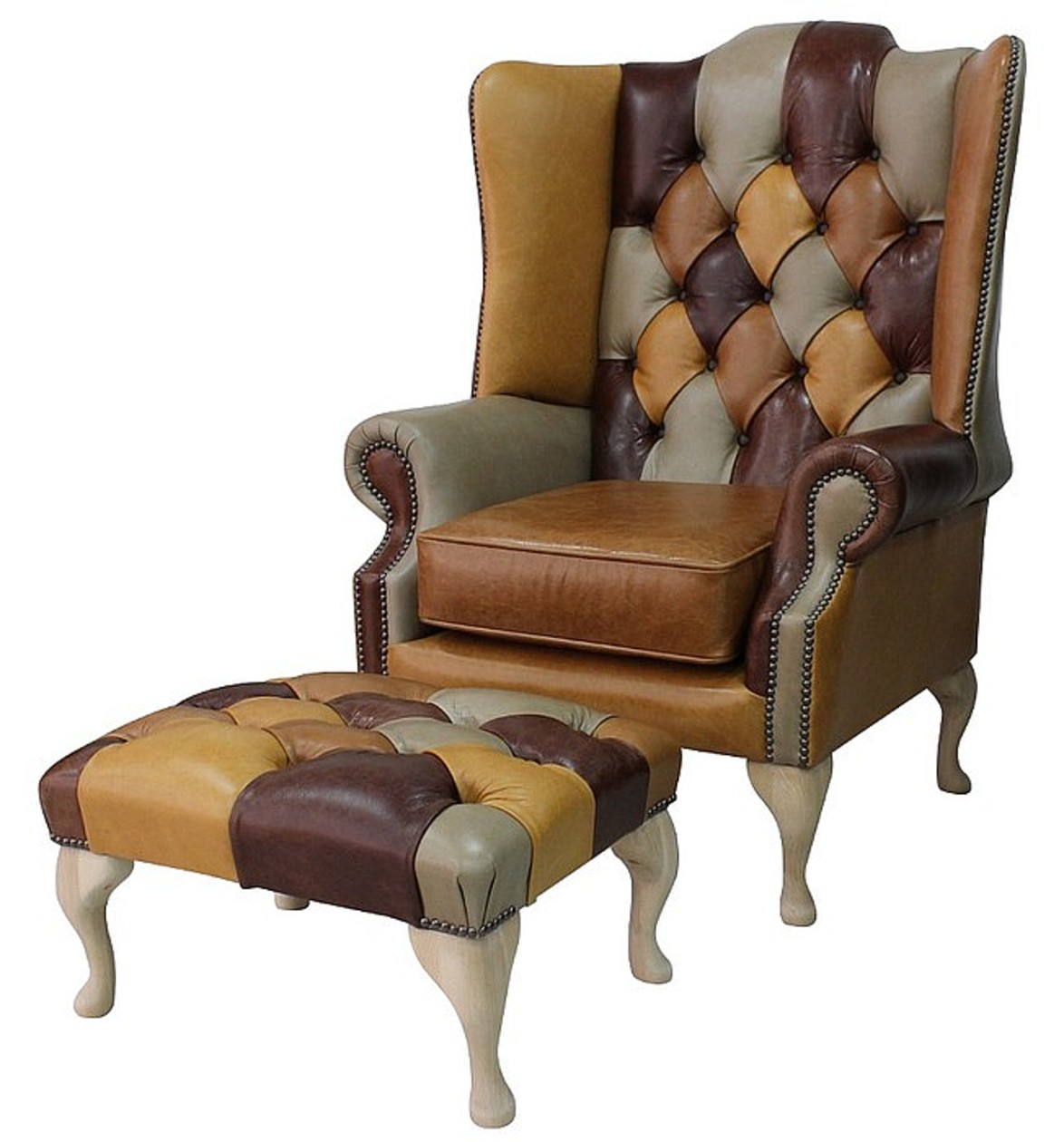 Merveilleux Chesterfield Princeu0027s Patchwork Old English Leather Wing Chair + Footstool