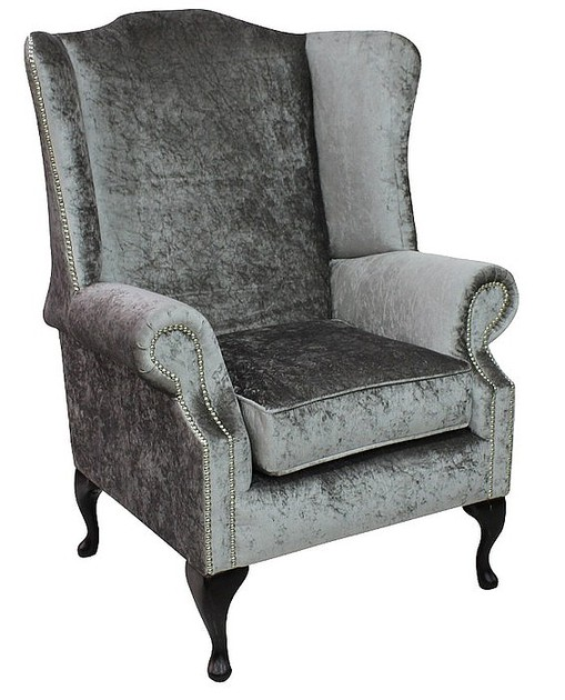Chesterfield Sofa Saxon: Silver Velvet Chesterfield Prince High Back Wing Chair