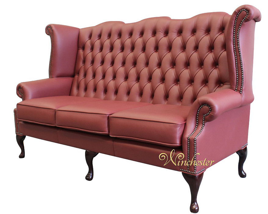chesterfield 3 seater queen anne high back wing sofa burgandy leather uk manufactured leather. Black Bedroom Furniture Sets. Home Design Ideas