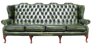 Chesterfield 4 Seater Queen Anne High Back Wing Sofa UK Manufactured Antique Green