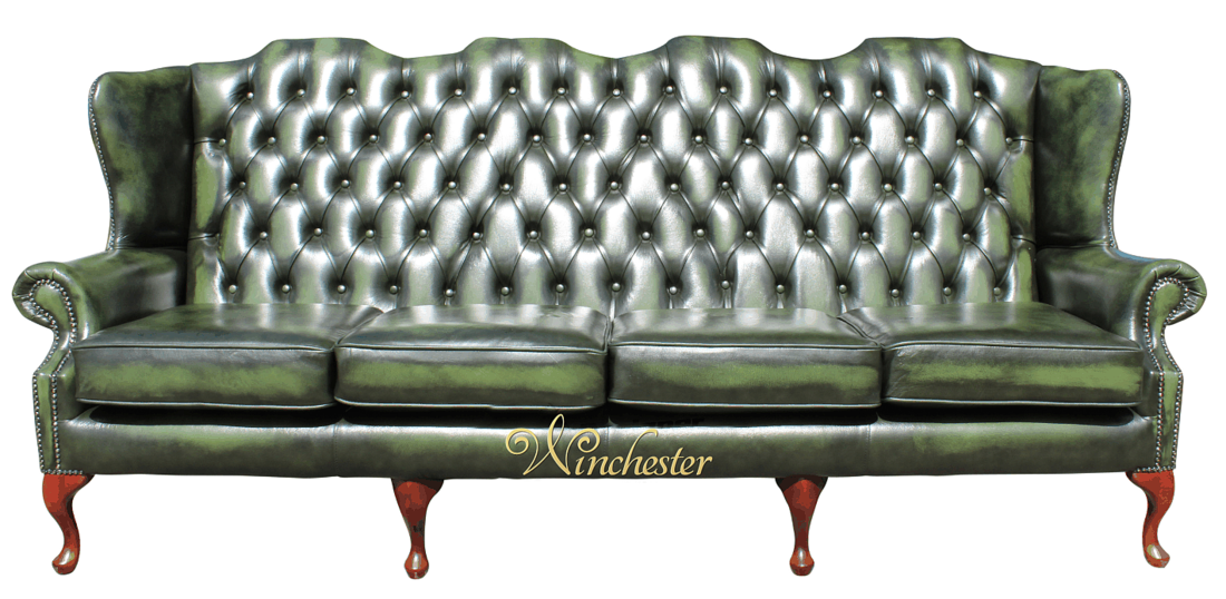 Chesterfield Queen Anne 4 Seater Wing Sofa Antique Green Leather Wc