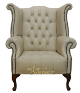 Chesterfield Buttoned Queen Anne High Back Wing Chair UK Manufactured Ivory