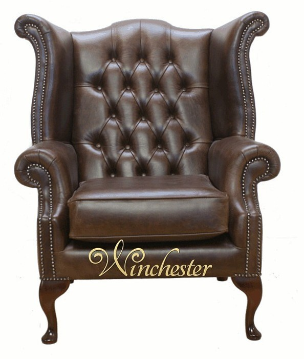 Chesterfield Queen Anne Armchair Old English Brown Leather Wc