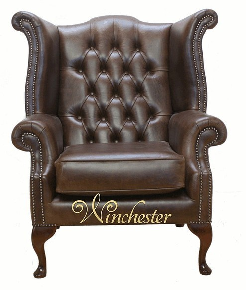Chesterfield Queen Anne High Back Wing Chair UK Manufactured Old English Brown