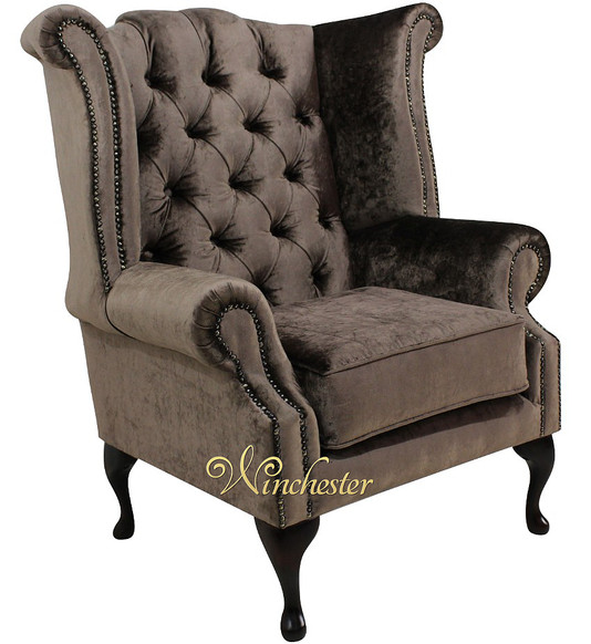 Chesterfield Queen Anne High Back Wing Chair Boutique Sable Velvet