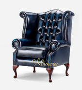 Chesterfield Queen Anne Wing Chair Antique Blue