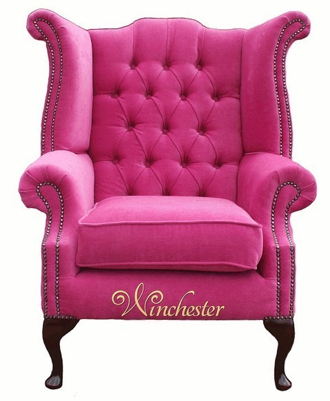 Chesterfield Fabric Queen Anne High Back Wing Chair Pink