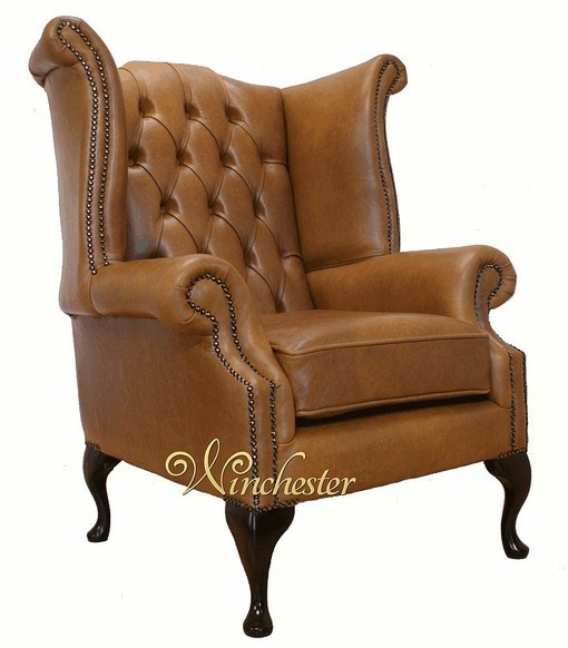 Chesterfield Queen Anne High Back Wing Chair UK Manufactured Old English Tan