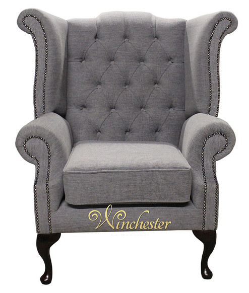 Chesterfield Fabric Queen Anne High Back Wing Chair Verity Plain Steel Fabric