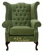 Chesterfield Fabric Queen Anne High Back Wing Chair Sage Green