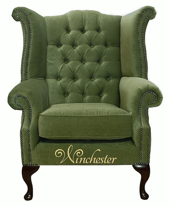 Chesterfield Fabric Queen Anne High Back Wing Chair Sage